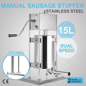 15l Industrial Vertical Sausage Stuffer Stainless Steel Dual Speed Commercial