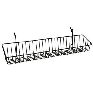 Wire Shelf Basket Slatwall Gridwall Pegboard Retail Display Lot Of 10 Black New