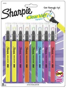 Sharpie Clear View Highlighter Stick Chisel Tip Assorted Fluorescent 8 Pack