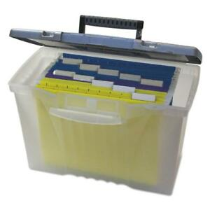 Storex Portable File Storage Box W organizer Lid Letter legal Clear
