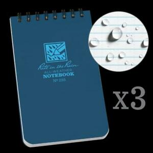 Rite In The Rain All Weather Top spiral Notebook 3 X 5 Blue Cover