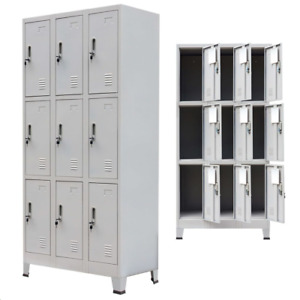 Locker Cabinet 9 Compartments Steel Storage Gym Metal School Cupboard Mirror Key