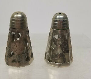 Antique Vintage Mexican Sterling Silver Overlay Salt And Pepper Shakers Signed