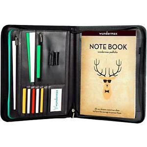 Portfolio W bonus Writing Pad Professional Interview Pu Leather Padfolio