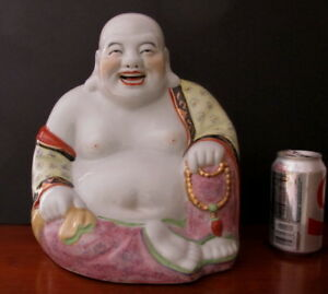 Large Antique Chinese Republic Period Famille Rose Seated Buddha Statue 12