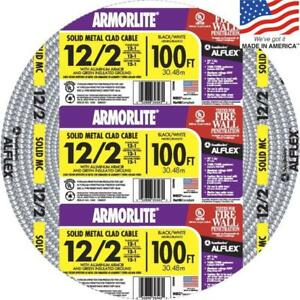 Southwire Armorlite 100ft 12 2 Solid Aluminum Mc Cable Wire Wet Hazard Condition
