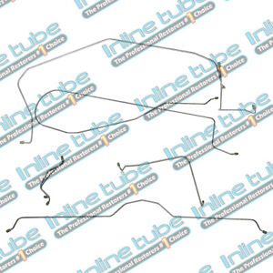 1963 64 Chevrolet Corvette Manual Drum Complete Brake Line Kit Set 6pc Stainless