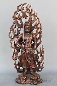 Buddhism Red Copper Stand Fudo Sword Backlight Statue