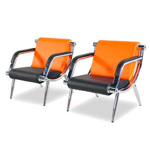 2pcs Waiting Chair Office Room Reception Seat Guest Sofa Pu Leather Orange Black
