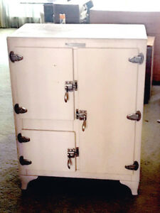 Antique Metal Ice Box Refrigerator By Leonard Grand Rapids Refrigerator Co