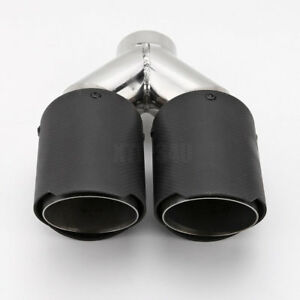 1pcs 2 25 od Inlet Dual 3 5 Outlet Carbon Fiber Exhaust Tip Matte Black Ss304