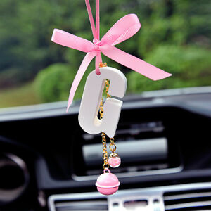 Custom Letter Car Rearview Mirror Pendant Interior Decor Hanging Ornament