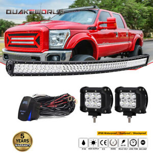 For Ford Excursion 50 Curved Led Light Bar 4 Inch Cube Pods wiring Waterproof