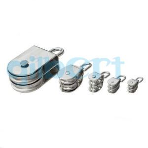 15 100mm Swivel Stainless Steel Silver Wire Rope Double sheaved Pulley Roller