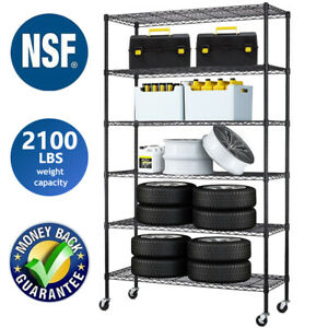 6 Tier Commercial Wire Shelving Rack 48 x18 x82 Adjustable Metal Rack W casters