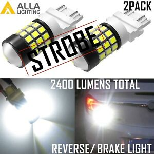 Alla Lighting 3157 Strobe Safety Alert Blinking Backup Blinker Brake Bulb White