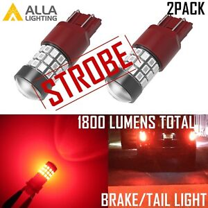 Alla Lighting Led 7443 Red Strobe Brake Light Bulb Blinking Flash Legal Alert