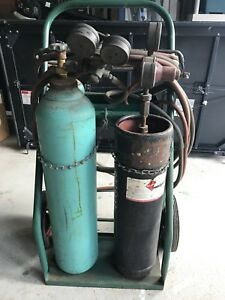 Wepco Oxygen Acetylene Tanks Cart Gauges Welding Torch Hose