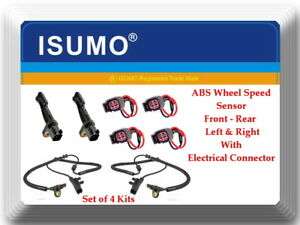 4 Abs Wheel Speed Sensor W connectors Front rearleft Right For Nitro Liberty