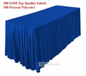 Tektrum 6 Ft Long Fitted Table Skirt Cover For Trade Show Royal Blue Color