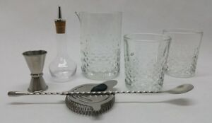 8 Pc Cocktail Stirring Drink Mixing Bar Kit Jigger Spoon Bitters Bottle Strainer