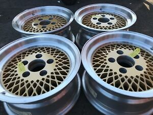 14 Inch Mag Alloy Aluminum Gold Rims Wheels 5x4 75 Pontiac Vintage Chevy Mesh