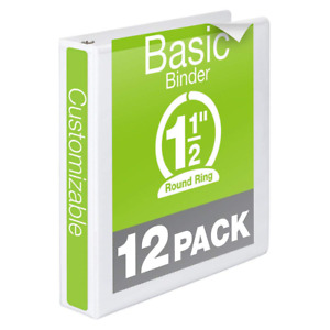 Wilson Jones 1 1 2 Inch 3 Ring Binders Basic Round View White 12 Pack w362 3