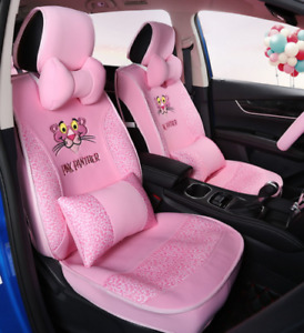 Universal Cute Pink Panther Cloth Front Back Seat Cover Full Set