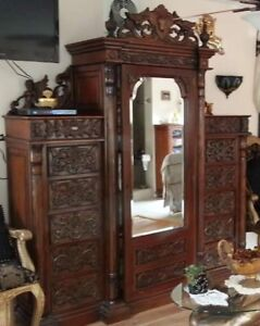 Antique Hand Carved Solid Wood Wardrobe Beveled Mirror Cherub Drawers Shelves
