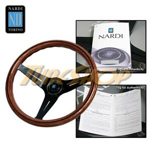 Italy Nardi Rally Deep Corn 350mm Steering Wheel Mahogany Wood With Black Spoke