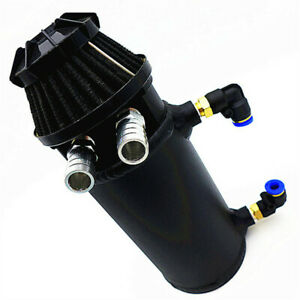 Black Baffled Oil Catch Tank Universal Can Car Racing Engine Reservoir Breather