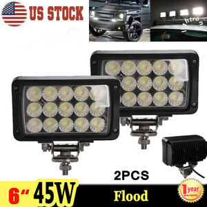 2x 6inch 45w Led Work Light Flood Driving Fog Lamp For Offroad Truck Jeep Motor