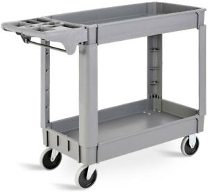 Rolling Service Cart Plastic Utility With 2 Shelves Wheels Storage 40x17x33 Inch