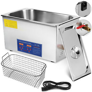 22l Liter Heated Ultrasonic Cleaners Cleaning Equipment Heater W timer
