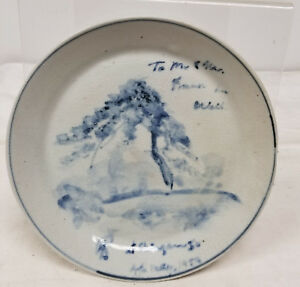 Antique Japanese Chinese Underglaze Blue And White Plate Vintage
