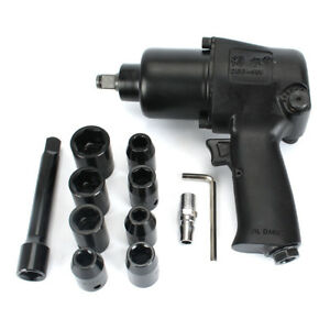 1 2 Twin Hammer Air Impact Wrench Set W sockets Max Torque 660n m Super