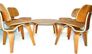4 Herman Miller Style Plywood Lounge Chairs 1 Coffee Table Eames Era Style