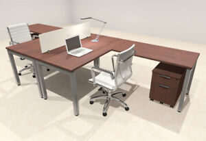 Two Person Modern Divider Office Workstation Desk Set of con fp13