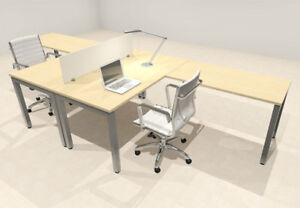 Two Person Modern Divider Office Workstation Desk Set of con fp2