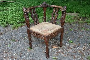 Antique 19th Century Continental Ornate Carved Corner Chair Probably French