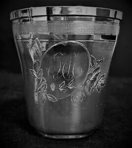 Antique 1826 French Sterling Silver Cup Julep Goblet Minerva Head Roussel