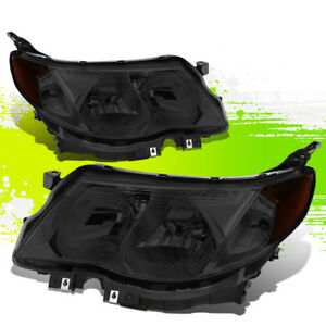 For 09 13 Subaru Forester Oe Front Bumper Driving Headlight lamps Smoked amber
