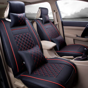 Car Seat Cover Pu Leather Front Rear 5 seats Auto Size M W neck Lumbar Pillow
