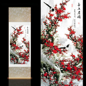 Chinese Silk Scroll Painting Home Office Decoration