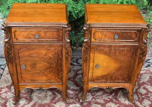 1920s Antique French Burled Walnut Pair Of Nightstands