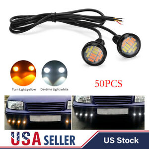 50pc White amber 12v 15w Eagle Eye Led Daytime Running Drl Backup Light Car Lamp