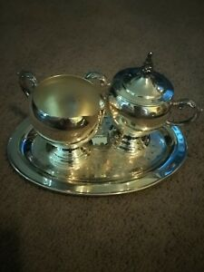 Silver Sugar Cream And Tray Set Used In Perfect Condition