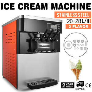 Soft Ice Cream Maker Frozen Yogurt Making Machine 3 Flavors 20 28l h Commercial
