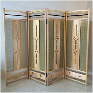 Japanese Wood Carving Folding Screen Byoubu 4 Panels Made From Bamboo Bark