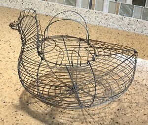 Vintage Wire 12 Egg Gathering Basket Bird Shaped Wire Primitive Country Farm
